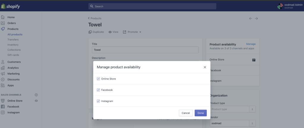 facebook e shopify istallazione
