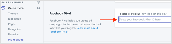 come installare facebook pixel so Shopify