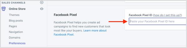 come installare facebook pixel so Shopify