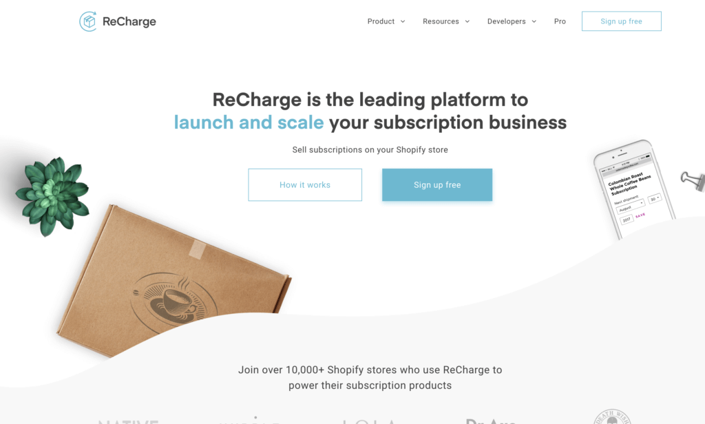 ReCharge app per subscription con Shopify